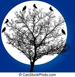 tree crows - vector tree with crows