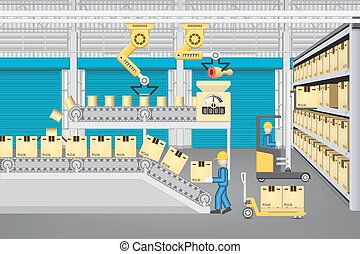 Production line vector - Robot working with production line...
