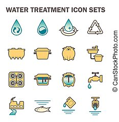 Water icon sets - Water treatment vector icon sets design