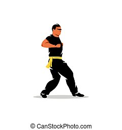 Vector Wing Chun kung fu Man Cartoon Illustration. - Man...