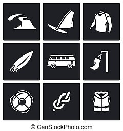 Vector Set of Surfing and Windsurfing Icons - Rest on the...