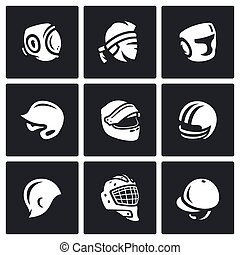 Vector Set of Sports hat, cap and headband Icons Kudo, Muay...