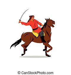 Mongolian Warrior with saber on horseback. Vector Cartoon...