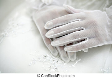 Brides hands - Beautiful brides hands in white gloves