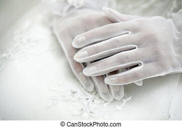 Brides hands - Beautiful brides hands in white gloves