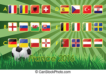 European football championship 2016 - Flags of European...