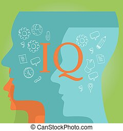 IQ intellectual quotient intelligence vector drawing...
