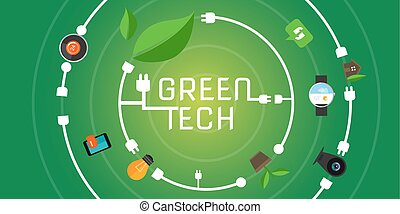 green tech eco environment friendly technology vector...