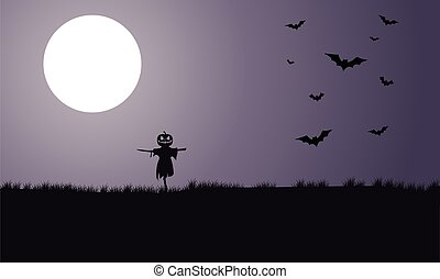 Silhouette of scarecrow and bat Halloween