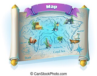 Atlantis ruins GUI - level game map on white background -...