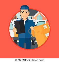 Delivery man with cardboard boxes. - Delivery man with...