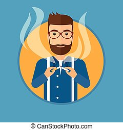 Young man quitting smoking. - A hipster man with the beard...