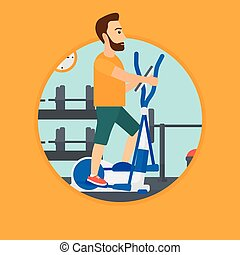 Man exercising on elliptical trainer. - Hipster man...