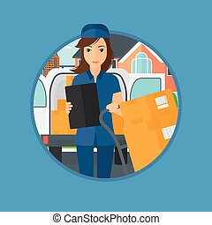Delivery woman with cardboard boxes. - Delivery woman with...