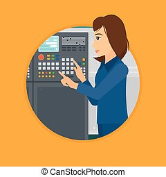 Engineer standing near control panel. - Woman working on...