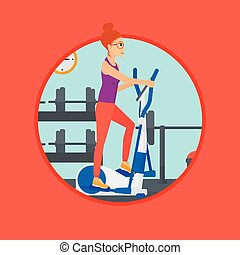 Woman exercising on elliptical trainer. - Woman exercising...
