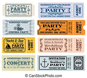 Entertainment, party and cinema vector vintage tickets coupons templates