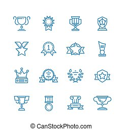 Prizes, trophy, awards vector outline icons