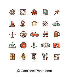 Road traffic flat vector icons