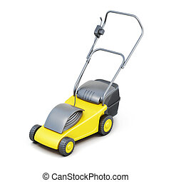 3d image of a lawn mower isolated on white background.