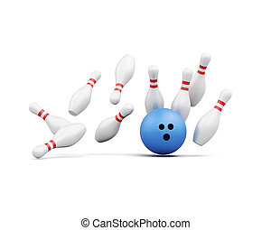 Bowling ball smashes into the pins on white background. 3d rende