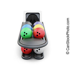 Bowling ball return system isolated on a white background 3d...