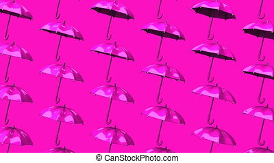 Pink Umbrellas On Pink Background Loop able 3DCG render...