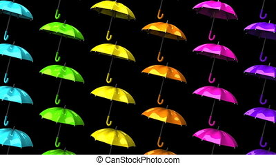 Colorful Umbrellas On Black Background Loop able 3DCG render...