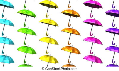 Colorful Umbrellas On White Background. Loop able 3DCG...
