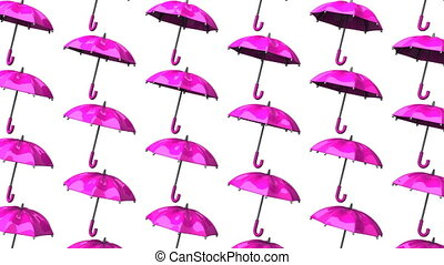 Pink Umbrellas On White Background Loop able 3DCG render...