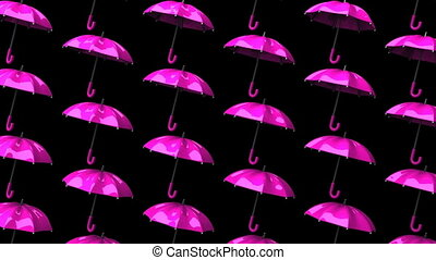 Pink Umbrellas On Black Background. Loop able 3DCG render...