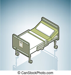 Hospital Bed part of the Hospital Hardware Isometric 3D...