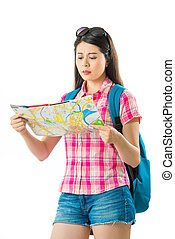Happy asian woman tourist with map