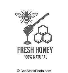 Vintage frame with Honey label - Vintage honey label, badge,...