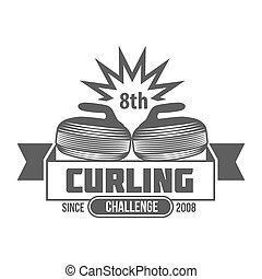 vintage curling labels and design elements - Curling game...