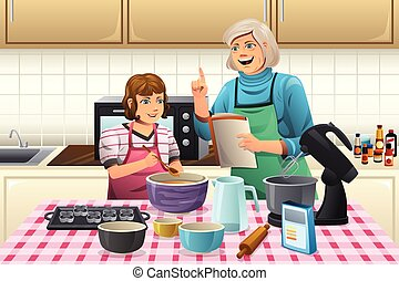 Grandma Preparing Cookies - A vector illustration of...