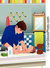 Father Changing a Diaper
