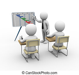 3d businessman gantt chart presentation - 3d rendering of...