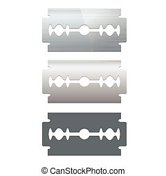 Razor Blade Set Vector - Metal Razor Blade Set and...