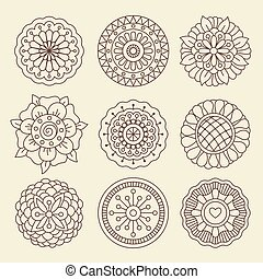 Mehndi indian henna tattoo flowers - Vector floral set in...