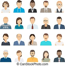 Business people flat avatars. Men and women business and...
