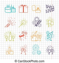 Celebration line icons with drinks, garland and fireworks -...