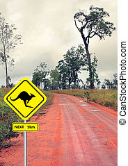 sign and kangaroo in the outback road