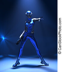 Blue cyber girl sci-fi outfit - Sparkling cyber girl in...