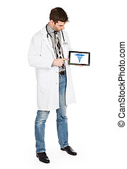 Doctor holding tablet - Caduceus symbol - Doctor holding...