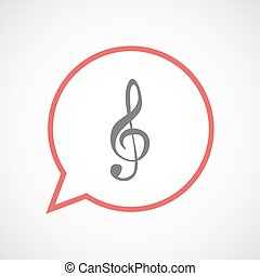 Isolated comic balloon with a g clef - Illustration of an...