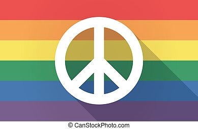 Long shadow Gay Pride flag with a peace sign - Illustration...