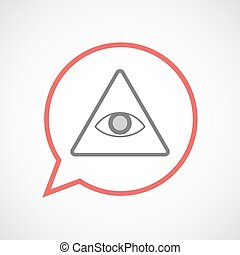 Isolated comic balloon with an all seeing eye - Illustration...