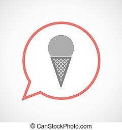 Isolated comic balloon with a cone ice cream