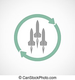 Reuse line art sign with missiles - Illustration of an...